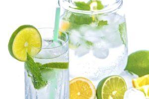 Охлажденная минеральная вода с лимоном, лаймом и мятой восполняет нехватку воды в организме